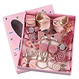 Baby Haarspangen Set, ZoneYan 18 Stücke Haarklammern Haarschleife Set für Mädchen, Haarschmuck Geschenk-Set für Baby, Rosa Haarspangen Set in Geschenkbox
