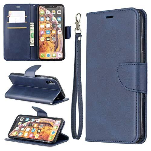 HH-Phone Case - Funda para Galaxy S10+, diseño de piel de cordero con textura de color puro, con soporte y ranuras para tarjetas, cartera y cordón (color azul)