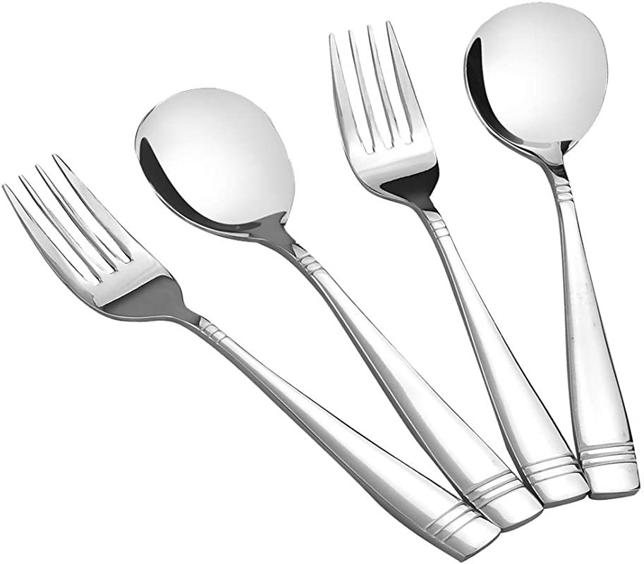 Obston Stainless Steel Serving Spoon And Fork Set Buffet Serving Sets 4 Pieces 2 Of Each