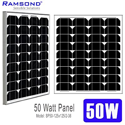 Ramsond 50 Watt Solar Panel 50w W Monocrystalline Photovoltaic PV Solar Panel Module 12V Battery Charging Charger RV 25 YEAR