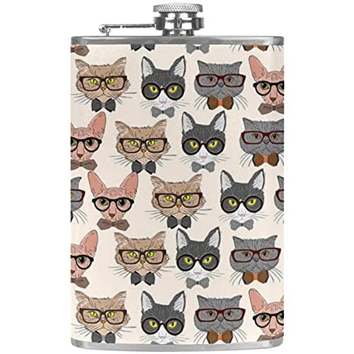Petaca portátil de bolsillo de 8 onzas, frasco de bolsillo de acero inoxidable, frasco de whisky con práctico embudo para escalar, acampar, gatos con gafas