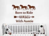 Cyber Week Sale Wall Decals Quotes Born To Ride Horses With Auntie Vinyl Sticker Animals Decal Kids Nursery Bedroom Decor Black Friday