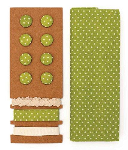 Lili Rose Textile Kit Polka Dots Vert 48 x 48 cm Bandes 3 x 1 m 8 boutons