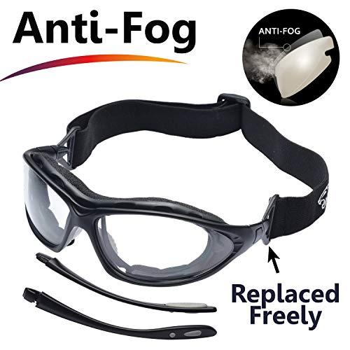 SAFEYEAR Schutzbrille Schießbrille Arbeitsbrille – SG002 Freizeitbrille Fahrradbrille mit Antikratz und Antibeschlag Baustelle Labor Solarium Brillenträger Schießsport Chemie (Schwarz)