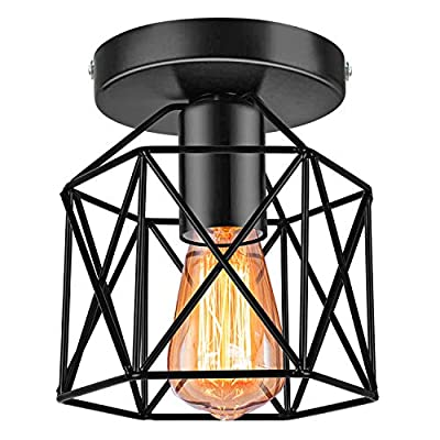 Industrial Ceiling Light Fixture, E26 Vintage Metal Semi Flush Mount Ceiling Light Fixtures, Rustic Cage Light Fixture for Farmhouse Kitchen Hallway Stairway, Black