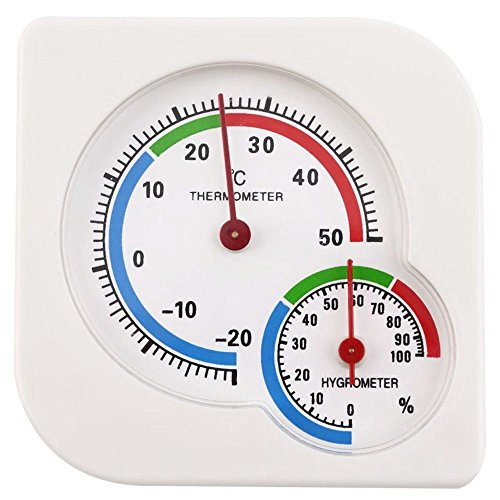 SODIAL Klassische Ws-A7 Innen Aussen Nass Hygrometer Luftfeuchtigkeit Thermometer Temperatur Messer Mechanische Thermometer Weiss