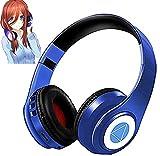 Nakano Miku - Auriculares con Bluetooth, diseño de quintessentiels Quintuplets Manga Cartoon Cosplay Props, auriculares plegables Hi-FI estéreo inalámbricos con micrófono integrado (azul)