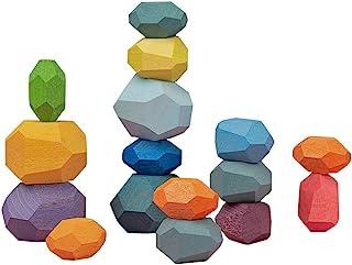 Atzi Hats Balancing Wooden Blocks Rainbow Stacking 16 Multicolored Building Blocks Fun and Educational Toy Enhances Motor ...