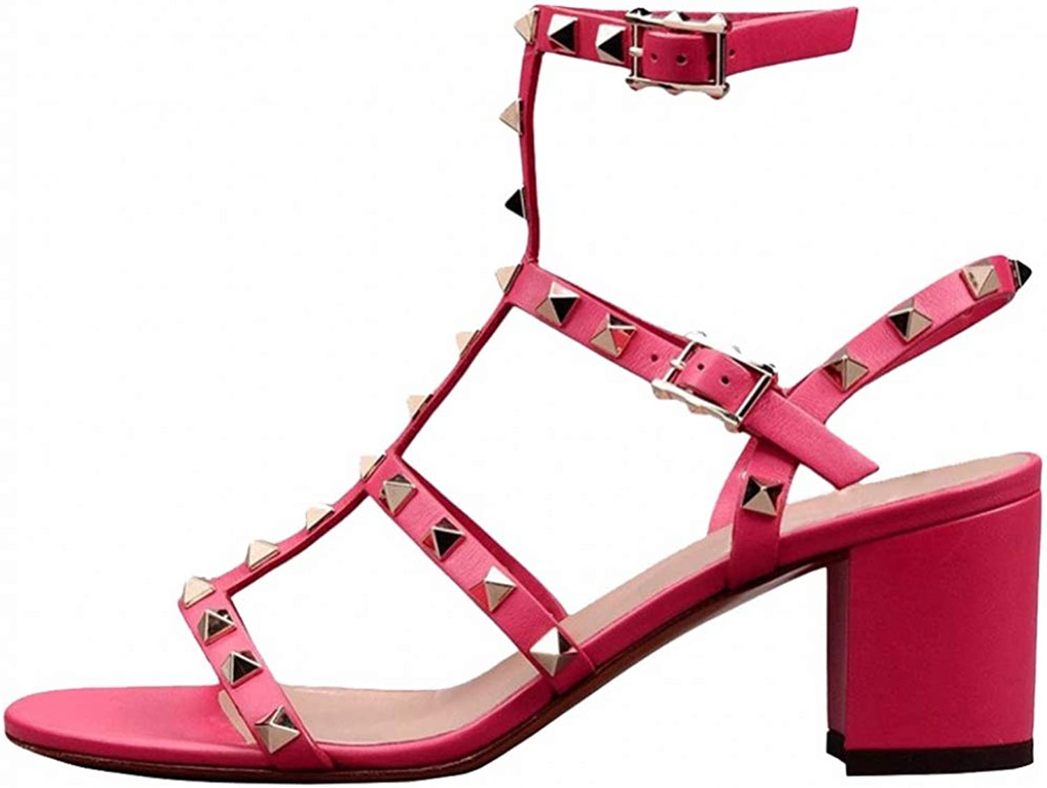 T-JULY Fashion Ladies Rivets Studded Sandals Gladiator Buckle Strap Open Toe Woman shoes Block Med Square Heels