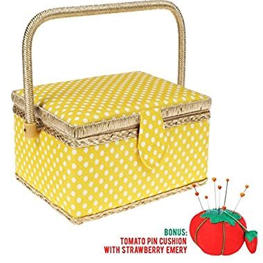 SewKit | Large Sewing Basket Organizer with Complete Sewing Kit Accessories Included | Wooden Sewing Basket Kit with Removable Tray and Tomato Pincushion for Sewing Mending | Yellow | 220.18