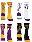 4Pairs Elite Cushioned Socks for Basketball Anti Fatigue and Prevent Blisters (Black/purple/yellow #23)