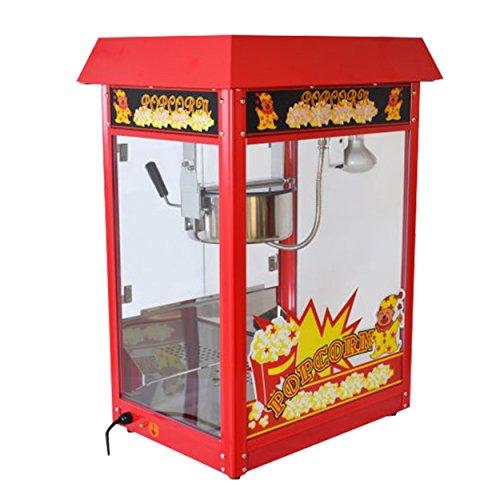 Große Popcornmaschine für knusprige Popcorn mit Wärmeplatte und Innenbeleuchtung - 1600 Watt ca. 5 Kg Popcorn pro Stunde - Maße 600 x 460 x 820 mm - Gewicht ca 23 kg