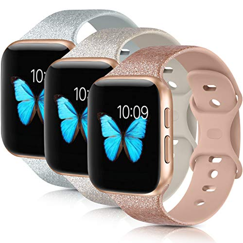 [3 Pack] Compatible with Apple Watch Bands 38mm 40mm 42mm 44mm Series 6 5 4 3 2 1 SE (.Khaki Glitter Silver/Oatmeal Glitter Silver/Gray Glitter Silver, 42mm/44mm-M/L)
