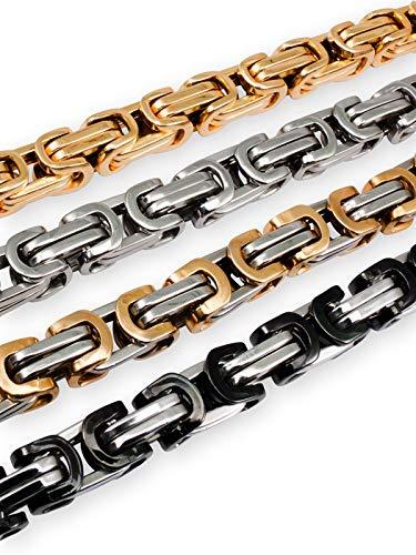 Fly Style 5 mm Königskette oder Armband aus Edelstahl in 4 Farben | 18-80 cm, Farbwahl:Silber, Längen:45 cm