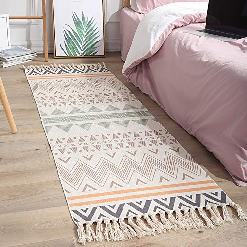 Boho Cotton Woven-Tassel Area Rug - Colorful Geometric Waves Printed Throw Runner Rug 2ftx6ft for Bathroom Kitchen Living Room Bedroom Laundry Room Entry Doorway Patio Dining Room