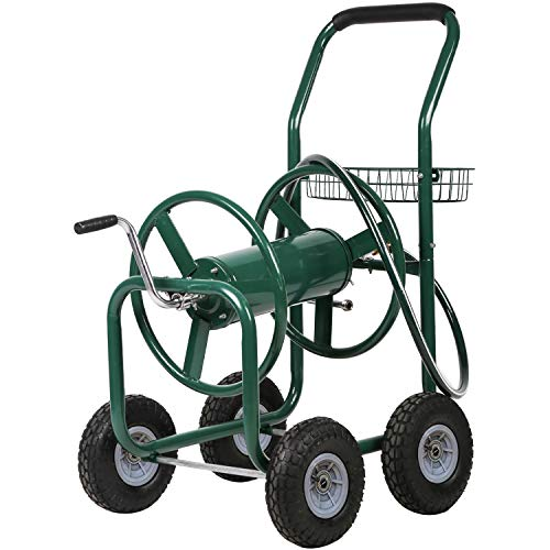 PayLessHere Reel Garden Cart with Heavy Duty 300FT Hose Yard Water Planting, Green
