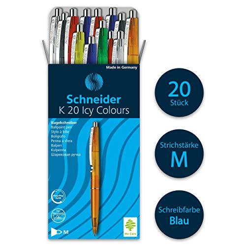Schneider K20 Icy Colours Kugelschreiber (Schreibfarbe: blau, Strichstärke M, dokumentenechte Mine, Druckmechanik) 20er Packung, sortiert