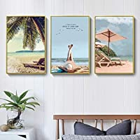 KFDQ ノベルティ壁掛け、風景キャンバスプリント海辺の風景ビーチ3パックウォールアートキャンバス30X40Cm上の画像を印刷絵画