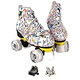 Roller Skates Women, Classic PU Leather High-top Double-Row Roller Skate. Graffiti Design Roller Skates for Beginners. Perfect to use Both Indoors and Outdoors!