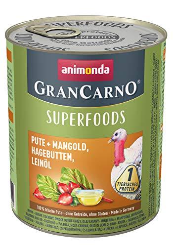 animonda Gran Carno adult Superfoods Hundefutter, Nassfutter für ausgewachsene Hunde, Pute + Mangold, Hagebutten, Leinöl, 6 x 800 g, 6er Pack (6 x 0.8 kilograms)