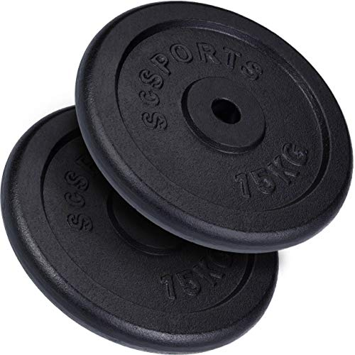 ScSPORTS 30 kg Hantelscheiben-Set 2 x 15 kg Gusseisen Gewichte 30 mm/31 mm Bohrung, durch Intertek geprüft + bestanden¹