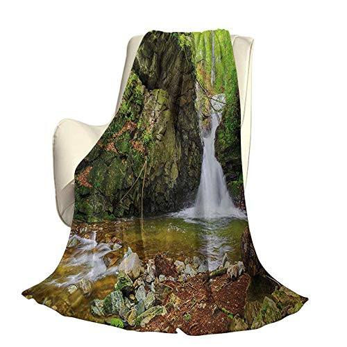 Waterfall Comfortable Home Series Blankets Waterfall in Spring Season Like Winter in Bulgaria with Trees and Bushes Lightweight for Living Room W60 x L70 Inch Green and White