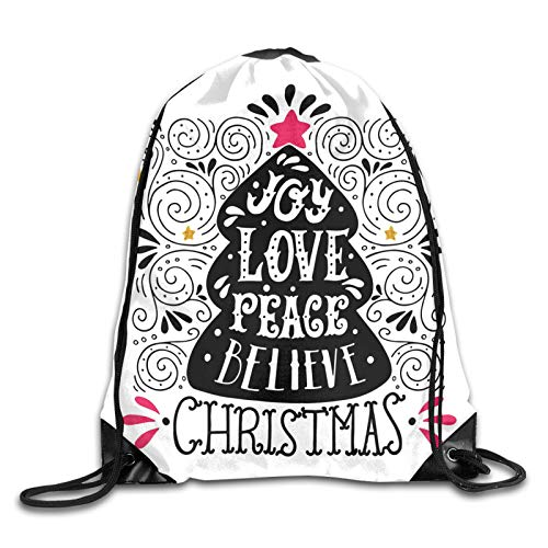 Drawstring Gym Bag Backpack,Abstract Christmas Tree Pattern With A Tree Topper Curlicues Swirled Lines,Rucksack for School Sports Travel Women Children Birthday Present