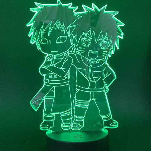 Nur 1 Stk. Japanischer Anime Naruto Nette Gaara Figur 3d Lampe Geschenk für Kinder Kind Schlafzimmer Dekor Nachtlicht Berührungssensor Tisch Led Nachtlicht