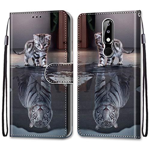 i-Hülle für [Nokia 5.1 Plus Hülle Kind Handytasche Gemalt Muster Süß Flip Brieftasche Kartenhalter Magnetschnalle Ständer Stoßfest Kratzfest Stoßstange Handyhülle Hülle für Nokia X5,Tiger Katze