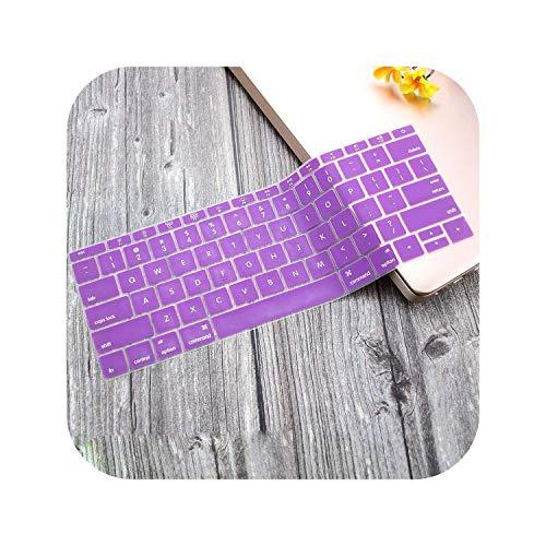 Funda protectora de silicona para teclado MacBook Pro de 13 pulgadas 2019 2018 2017 A1708 sin barra táctil para MacBook de 12 pulgadas A1534-púrpura-