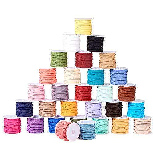 PandaHall Elite 30 rollos de 5 metros de color mixto de gamuza sintética para fabricación de joyas, hilos de cordón de cuero, 3 mm x 5 m