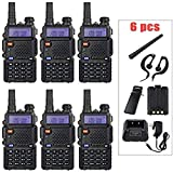 BaoFeng Radio 6 Pack UV-5R 1.5' LCD 5W VHF / UHF Dual Band Walkie Talkie with 1-LED Flashlight Includes 1800mah Rechargeable Battery