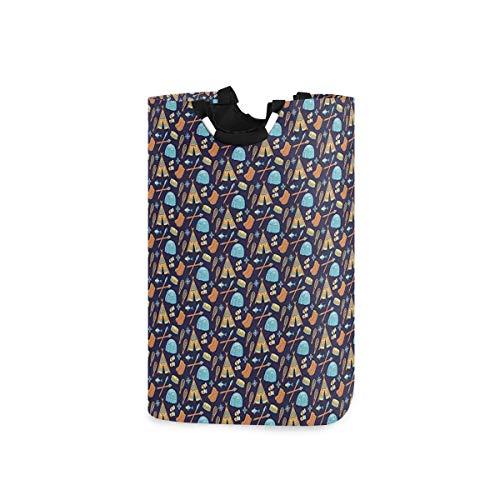 ZOMOY Multifunktionale Faltbarer Schmutzige Kleidung Wäschekorb,Eskimo Alaska Elemente und ethnische Stil symbolische Elemente Gekritzel,Household Wäschebox Spielzeug Organizer Aufbewahrungsbeutel