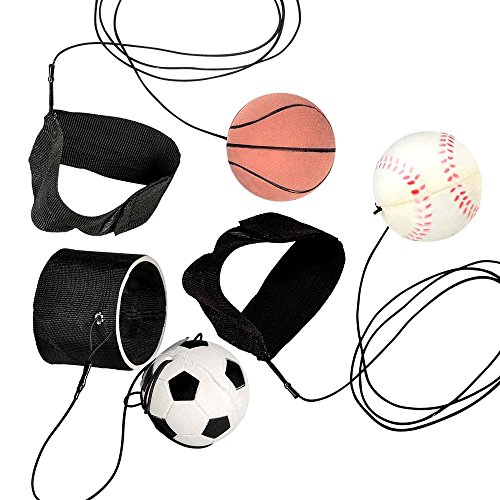 ArtCreativity 2.25 Inch Sports Wrist Balls - Set of 3 - Includes Basketball, Baseball, and Soccer Ball Wristband Toys - Durable Foam String Attached Rebound Balls - Party Favor, Gift Idea for Kids
