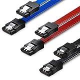deleyCON 3X 50cm SATA III Nylon Cable Set Cable de Datos Cable de Conexión 6 Gbit/s Placa Base HDD SSD Disco Duro 2 Conector S-ATA Recto Negro Azul Rojo