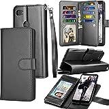 Pixel 3A Case, Wallet Case for Google Pixel 3A, Tekcoo Luxury Cash Credit Card Slots Holder Carrying Folio Flip PU Leather Cover Cases [Detachable Magnetic Hard Case] & Kickstand Strap [Black]