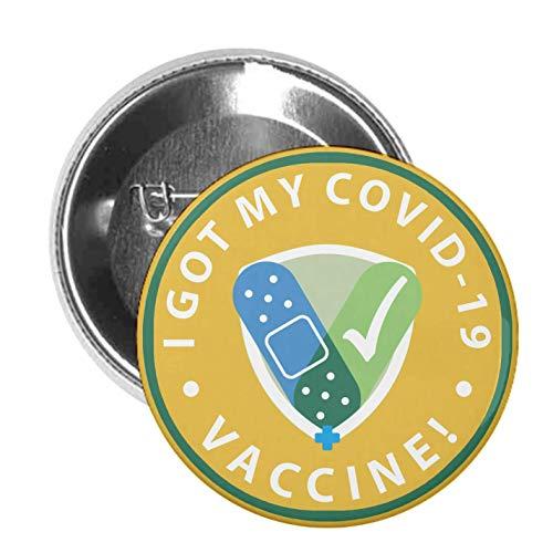 10 PACK COVID-19 Vaccinated Pin - Coronavirus Vaccination Shot Button Badge - Bulk 1.75 Inch Metal Pins - 'I Got My COVID-19 Vaccine'