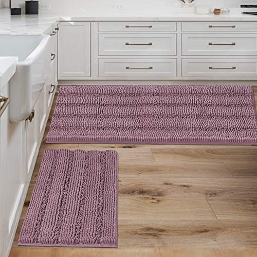 Bathroom Rugs Bath Mats Sets Super Absorbent Chenille Striped Bath Mats Non Skid Machine Wash Dry Rugs for Bathroom Floor Set of 2(Mauve, 47 x 17 Plus 17 x 24 - Inches)