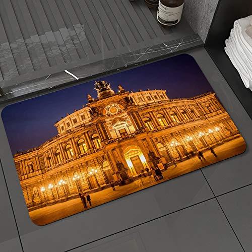 Alfombra de baño y Alfombra antideslizanteÓpera Arquitectura barroca Alemania Dresde Arcadas Pilastras Terraza Luces tenuesAlfombrilla de Ducha de Microfibra (50x80cm)