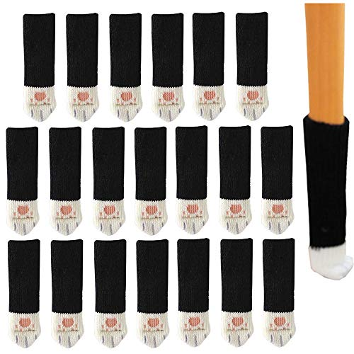 Xkfgcm Funda para Silla Negra de 20 Piezas Calcetines de Punto para Patas de Sillas Antiruido Protectores de Piso Calcetines para Silla Elásticos para Mesa Muebles Silla Leg Caps 25 * 50 mm