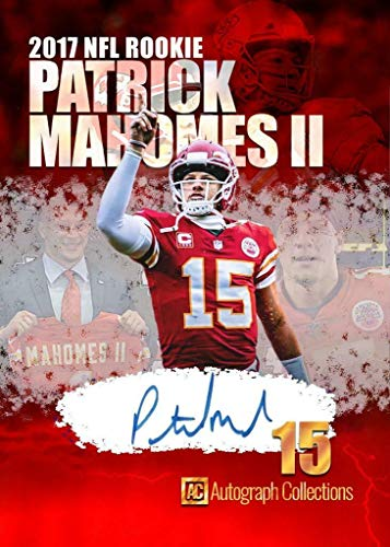 """2017 Patrick Mahomes Rookie Football Rookie Card -""""Autograph Collections"""" Custom Made Fascimile Autograph Football Card"""