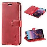 Mulbess Handyhülle für Huawei P20 Hülle Leder, Huawei P20 Handy Hülle, Vintage Flip Handytasche Schutzhülle für Huawei P20 Hülle, Wein Rot