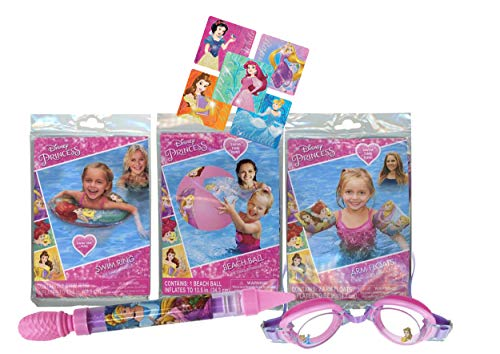 UPD Licensed Swim Sets! Pool Toys Bundle! Swim Ring, Arm Floats, Beach Ball and Water Blaster in All Your Favorite Characters! (5 Piece, Disney Princess)