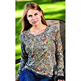 Weber Camo Leather Goods Casual Wear Burnout Break-Up Long Sleeve Crew Neck Top, Small