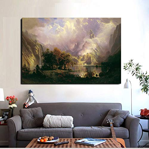 jiushice Rahmen Oil ng Landscape Poster Spear Fishing Art Canvas ng Wall Pictures for Living Room Quadro Home Decor 50x70cm