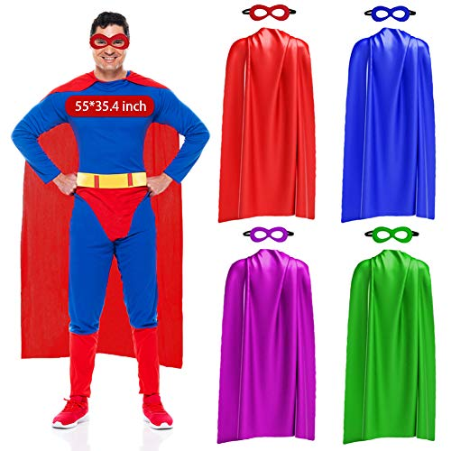 iROLEWIN Superhero Capes and Masks for Adults Bulk Super Hero Dress Up Costume Party Favors Games (4 Pack)