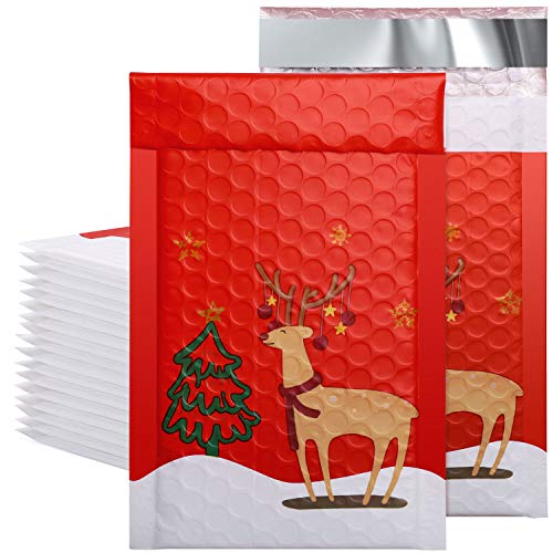 Metronic 50pcs Poly Bubble Mailers Christmas Reindeer 4x8 Inch Padded Envelopes #000 Bubble Lined Poly Mailer Self Seal The Lovely Reindeer