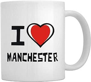 Teeburon I love Manchester Bicolor Heart Mug 11 ounces ceramic