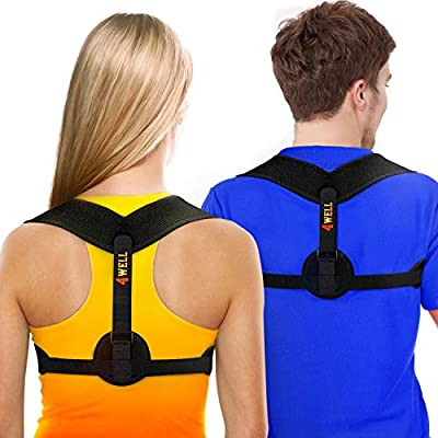 New 4WELL Posture Corrector for Women & Men - Posture Brace Strap - Comfortable Spinal Alignment Posture Support - Adjustable Better Back Straightener - Slouching Brace Fixer by 4WELL