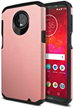 WIRESTER Case Compatible with Motorola Moto Z3 Play, Dual Layer Hard Back Hybrid Protector Case Cover Anti Shock TPU for Moto Z3 Play - Rose Gold/Black